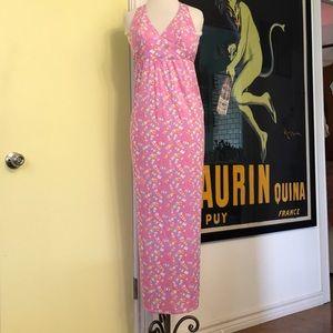 Vintage 70s boho hippie festival pink halter dress